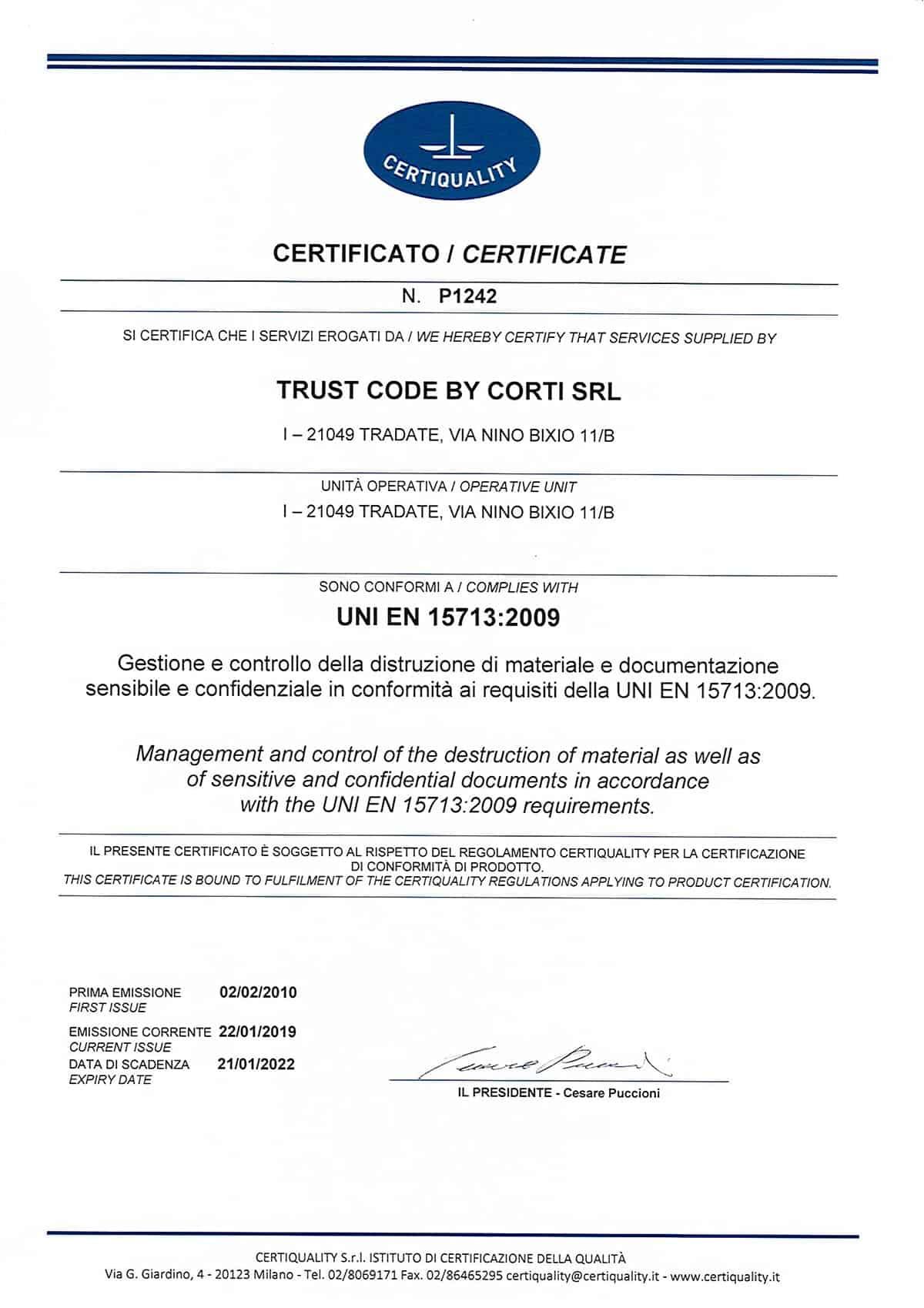 Certificato distruzione materiale e documentazione sensibile