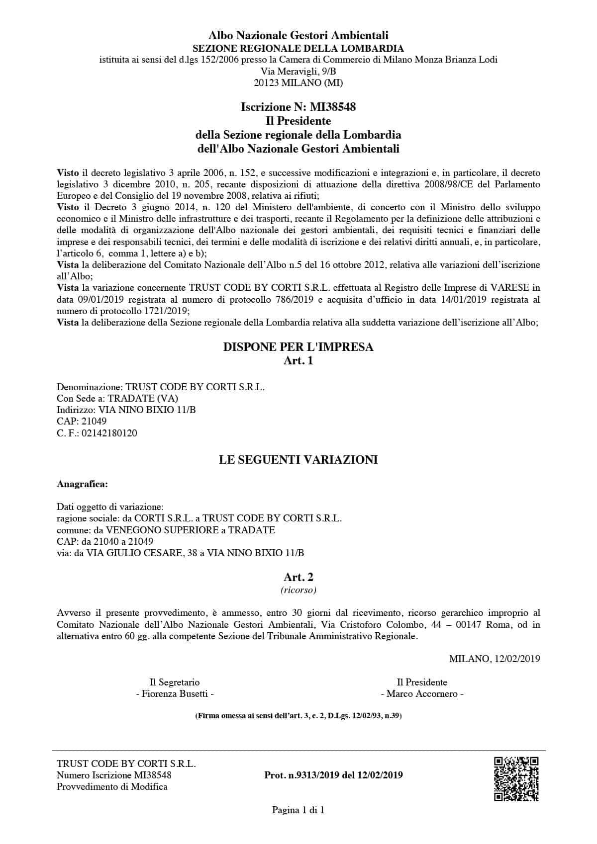 Certificazione gestori ambientali
