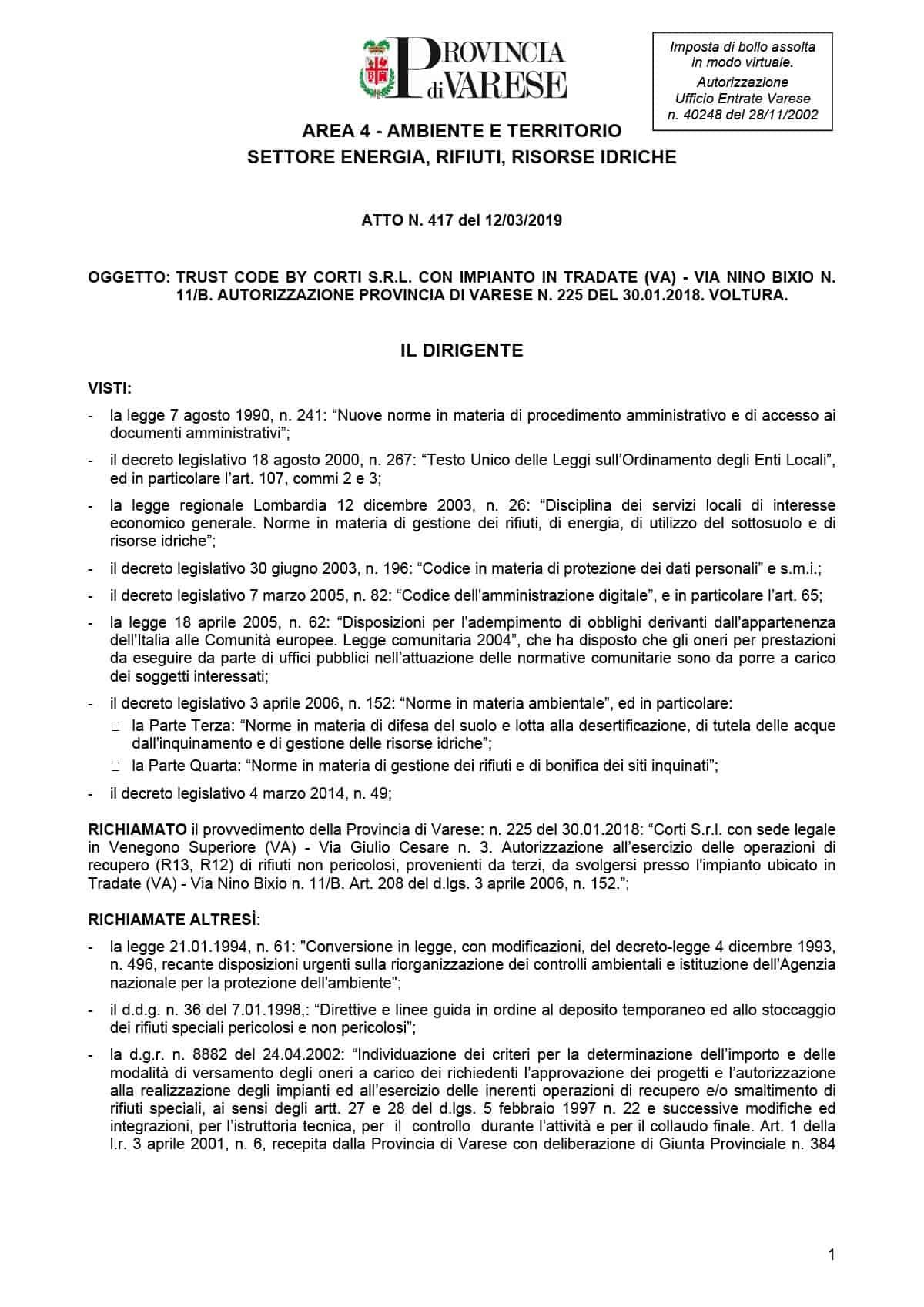 Archiviazione e distruzione di documenti su supporto cartaceo e non