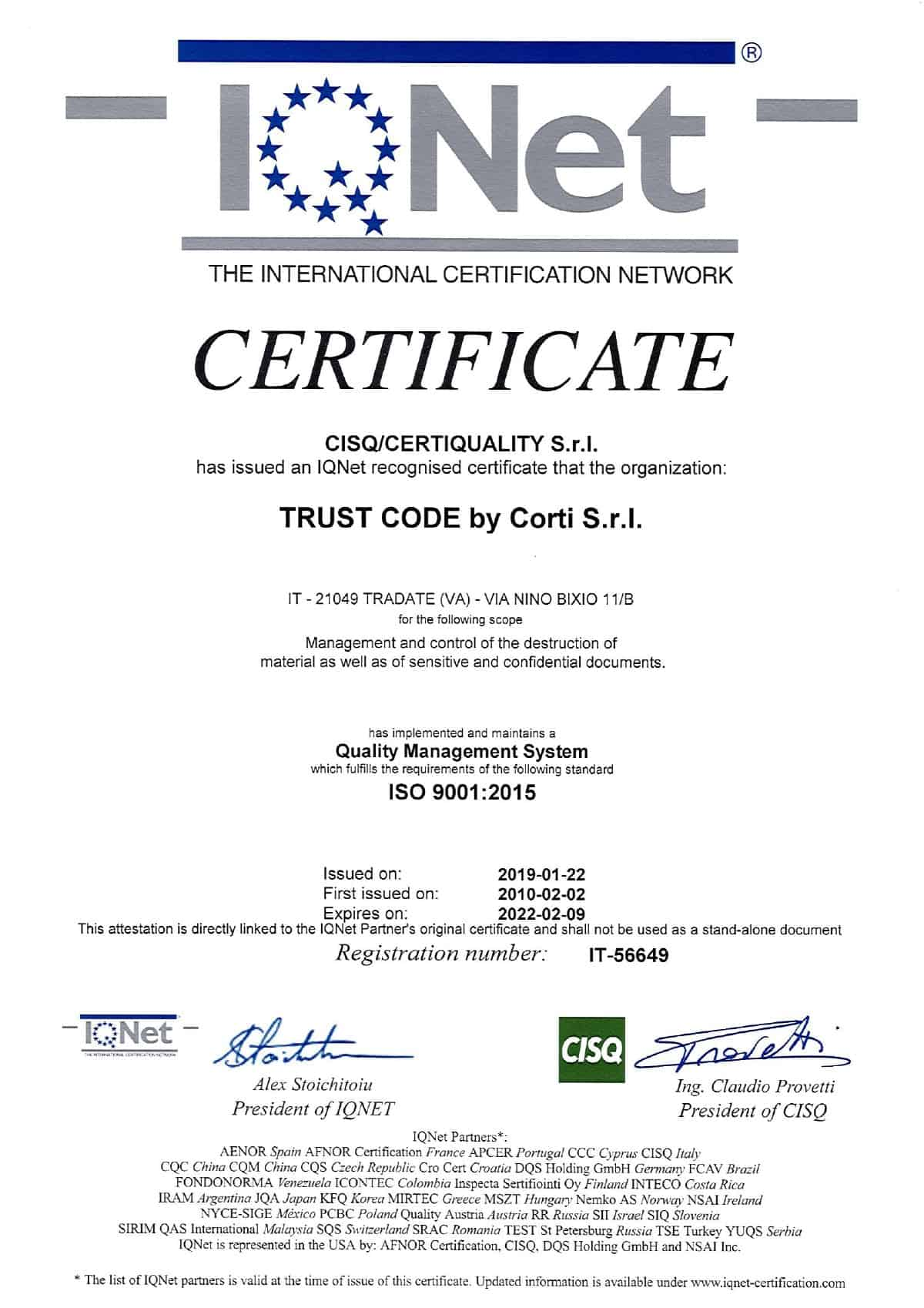 Sensitive and confidential destruction certification